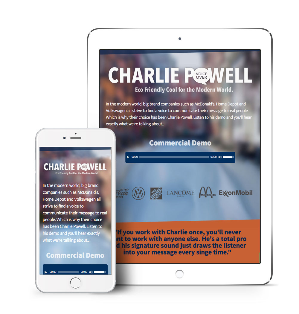 Responsive mobile design of Charlie Powell's voiceover website