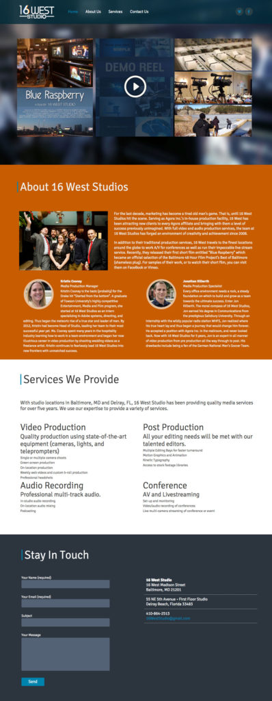 16 West Studio Website Design by Kathy Osborne Design