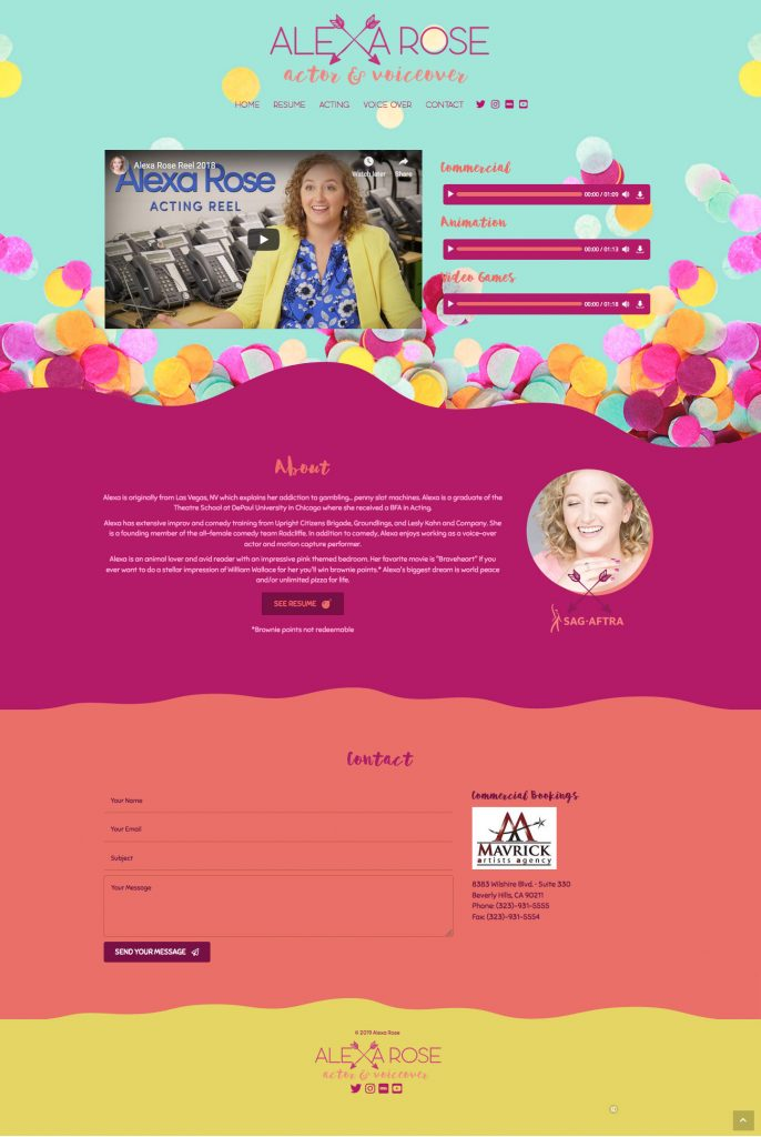 Alexa Rose Actor and Voice Over Website Design