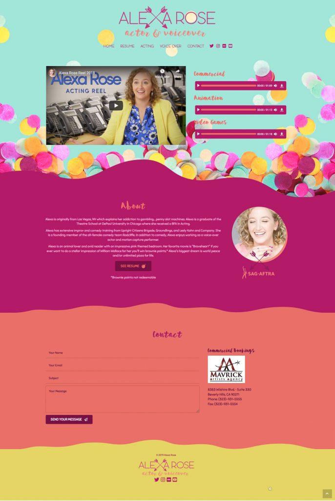 Alexa Rose Actor and Voice Over Website Design