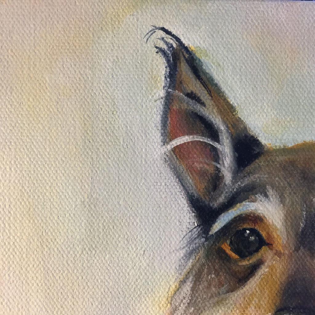 Detail of Miniature Schauzer Dog Painting